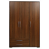Newport Triple 2 Drawer Wardrobe Walnut