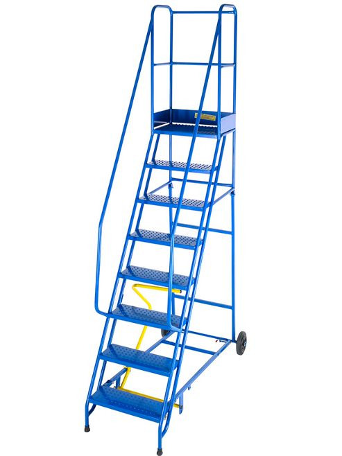 Medium Duty 8 Tread Steel Warehouse Mobile Step (Anti-Slip Tread)