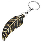 Urban Male Large Detailed Leaf Design Real Bone Keyring