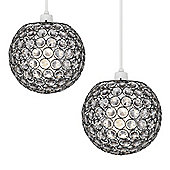 Pair of Ducy Ceiling Pendant Light Shades in Black Chrome