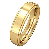 Jewelco London 18ct Yellow Gold - 5mm Premium Flat Court Step Cut Band Commitment / Wedding Ring -