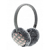 Grey and Pink Heart Earmuffs
