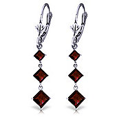 QP Jewellers 4.79ct Garnet Whiteland Earrings in 14K White Gold