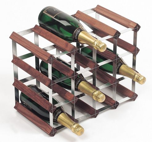 George Wilkinson 16 Bottle Wine rack - Stained Pine / Galvanised Steel