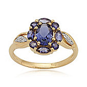 Gemondo Gold Plated Sterling Silver 0.94ct Iolite & Diamond Oval Cluster Ring