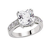 Jewelco London Rhodium-Plated Sterling Silver CZ Solitaire Engagement Ring Size