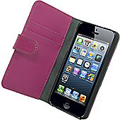 Tortoise™ Genuine Leather Folio Case iPhone 5/5S Pink/Black.