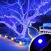 100 Connectable Blue LED Globe Lights on Rubber Cable