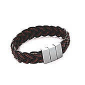 Tribal Steel Tan and Black Leather Plait Bracelet - 21cm