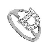 Silver Cubic Zirconia Identity ID Initial Signet Ring Letter D