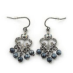 Vintage Inspired Black Bead, AB Crystal Filigree Drop Earrings In Antique Silver Metal - 40mm Length
