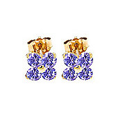QP Jewellers 1.15ct Tanzanite Clover Stud Earrings in 14K Gold