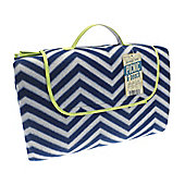 Country Club Jumbo Picnic Blanket, 150 x 200cm, Blue & White Zig Zag