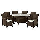 Royalcraft Cannes 140cm Round Dining Set & Carver 6 seater - Brown