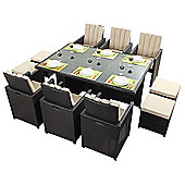 Luxan WGF-119 Port Royal Luxe Cube Table and Chairs - Seats 6