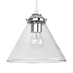 Modern Ceiling Pendant Light Fitting in Chrome & Clear Glass