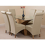 Valencia Glass & Oak 160 cm Dining Table with 6 Ivory Montana Leather Chairs