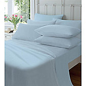 Catherine Lansfield Home Cosy Corner 145gsm Plain Dyed Flette Single Bed Flat Sheet Blue