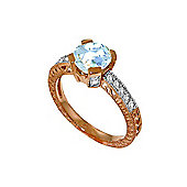 QP Jewellers Diamond & Aquamarine Fantasy Ring in 14K Rose Gold