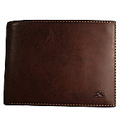 Tony Perotti Italian leather note case wallet with coin section and ID flap. Brown