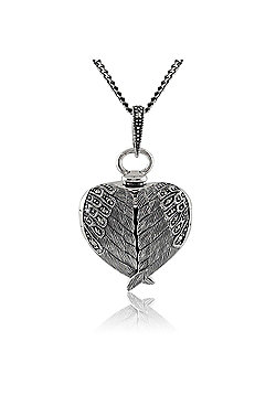 Gemondo Sterling Silver 0.14ct Marcasite Angel Wing Heart Locket 45cm Necklace