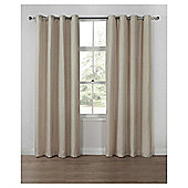 Basketweave Lined Eyelet Curtains, Duck Egg (66 x 54'') - Natural