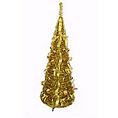 Homegear 5Ft Tinsel Decorated Collapsible Artificial Christmas X'mas Tree Gold