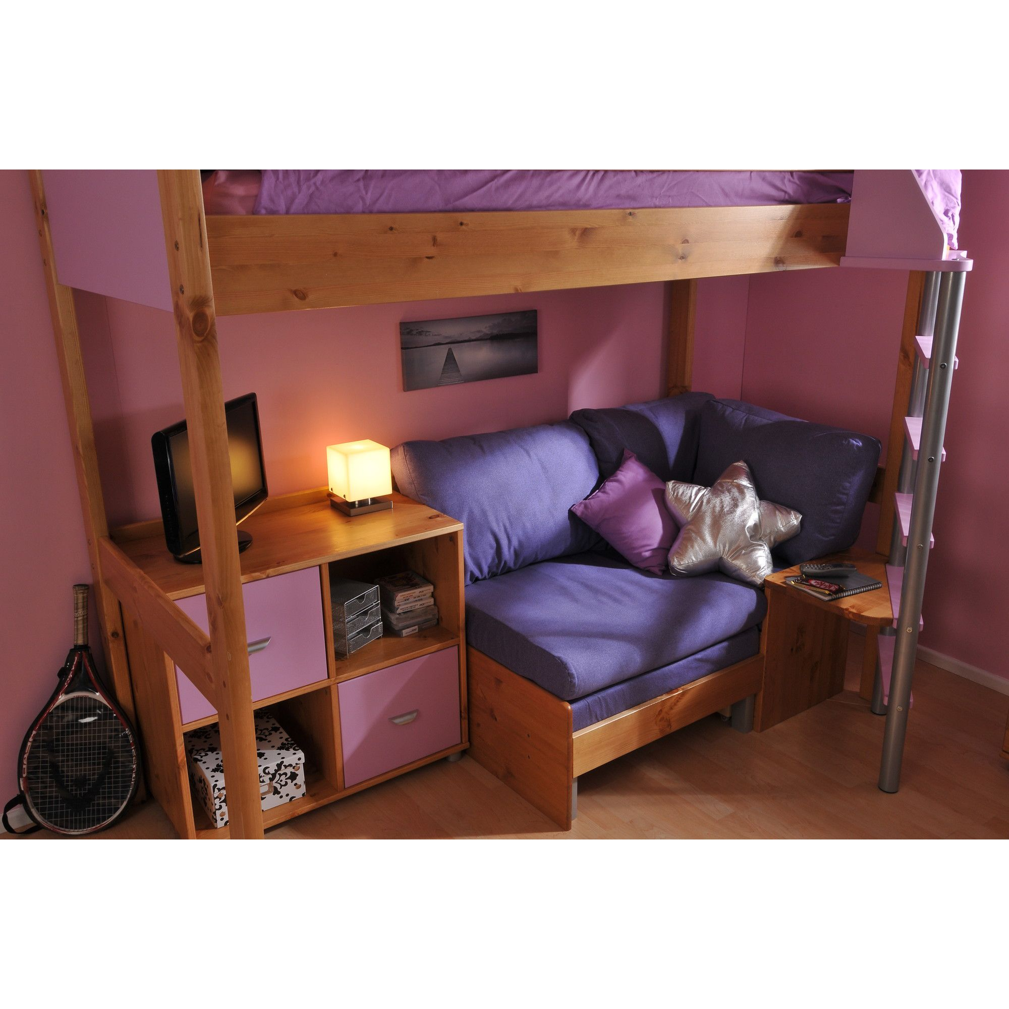 Stompa Casa High Sleeper Sofa Bed with 4 Cube Unit - Antique - Black - Lilac at Tesco Direct