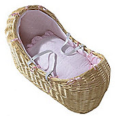 Isabella Alicia Natural Izzy-Pod Moses Basket (Broderie Anglais Pink)
