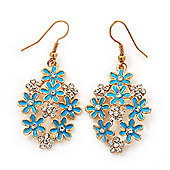 Sky Blue Enamel Clear Crystal Floral Drop Earrings In Gold Plating - 5cm Length
