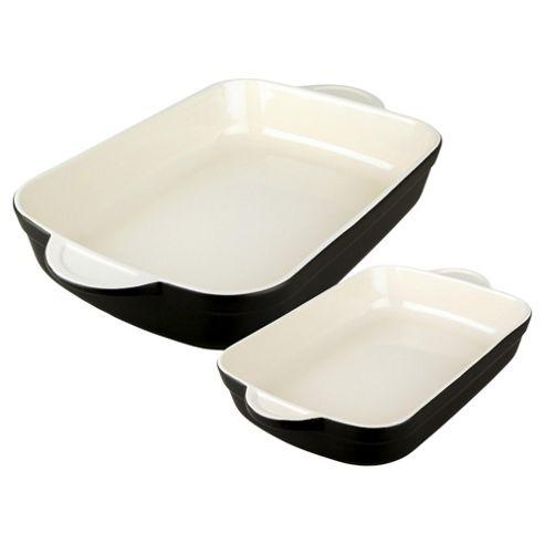 Denby Large & Medium Oblong Dish Set, Black
