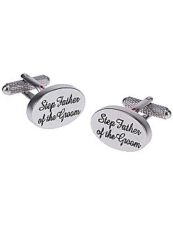 Silver Satin Oval Step Father of the Groom Wedding Cufflinks