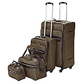 Tesco 4-Wheel Check 4pc Luggage Set