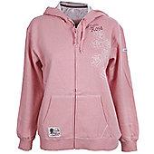 RFU Official England Rugby Union Womens English Rose Hooded Sweatshirt - Pink