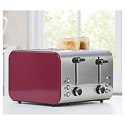 Tesco 4 Slice Toaster - Pink & Stainless Steel
