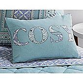 Dreams n Drapes Kalisha Unfilled Boudoir Cushion - Blue 38x28cm