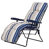 Padded Garden Reclining Chair, Blue Stripe