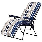 Padded Garden Reclining Chair, Blue Stripe
