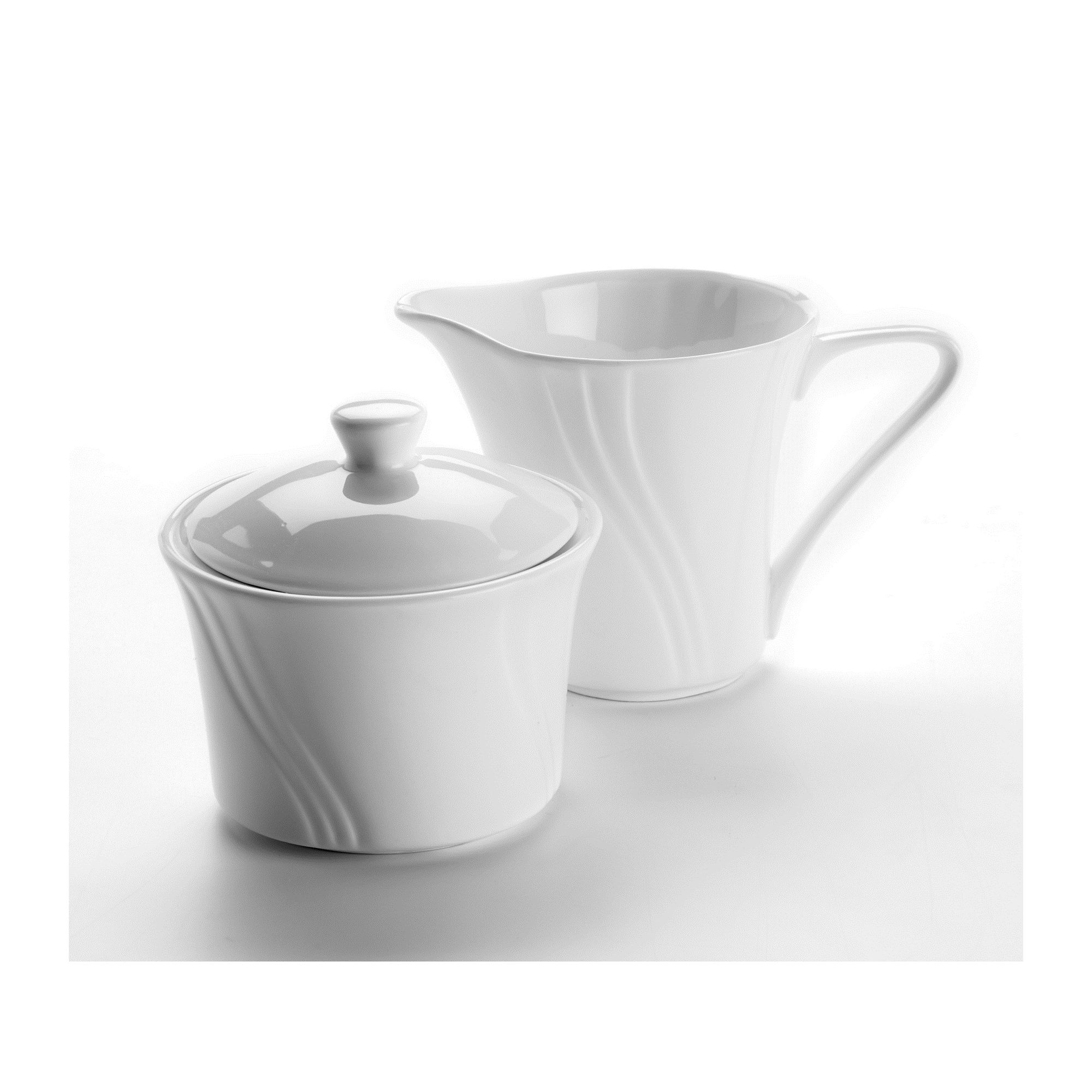 Other Domestic by Maser Molina Porcelain Sugar Bowl and Milk Jug in Ivory (Set of 2)