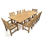 St James 8 Seater Double Extending Teak Set - Outdoor/Garden table and Chair set.