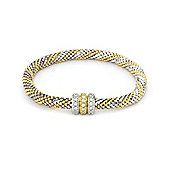 Jewelco London Rhodium & Gold Plated Silver Cubic Zirconia - Popcorn Beaded Magnetic - Bracelet