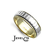 Jewelco London Bespoke 18 carat Yellow & White Gold 6mm Two Piece Wedding Ring with Spinning Center Band.