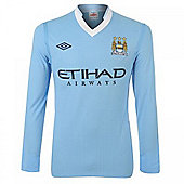 2011-12 Manchester City Home Long Sleeve Shirt - Blue