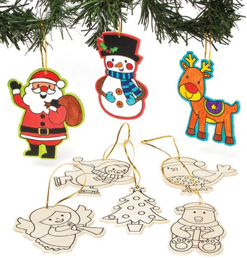 The Range Christmas Outdoor Decorations : Colour in christmas wooden decorations for children to