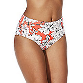 South Beach Sketch Floral Print High Waisted Bikini Briefs - Bright coral
