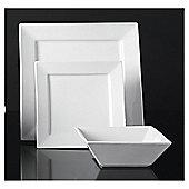 Tesco Square Super White Porcelain 12 Piece, 4 Person Dinner Set