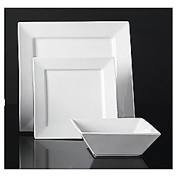 Tesco Square Super White Porcelain 12 Piece, 4 Person Dinner Set