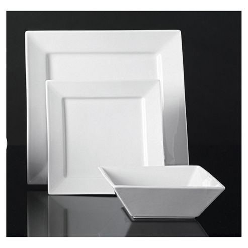 Super White Square Porcelain 12 Piece Dinner Set