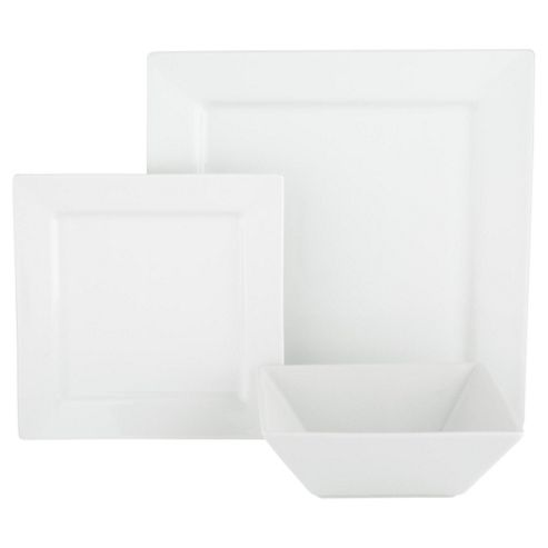 Super White Porcelain Square 12 Piece Dinner Set