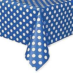 Blue Polka Dot Plastic Tablecover - 1.4m x 2.8m
